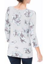 Anna Rose Lightweight Floral Knit Top Soft Blue/Grey - Gallery Image 3