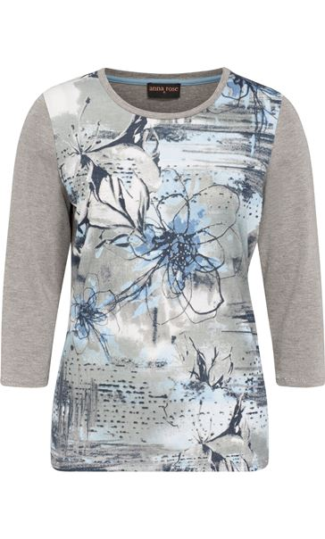Anna Rose Printed Jersey Top Grey Marl/Blue