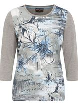 Anna Rose Printed Jersey Top Grey Marl/Blue - Gallery Image 1