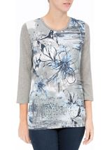 Anna Rose Printed Jersey Top Grey Marl/Blue - Gallery Image 2