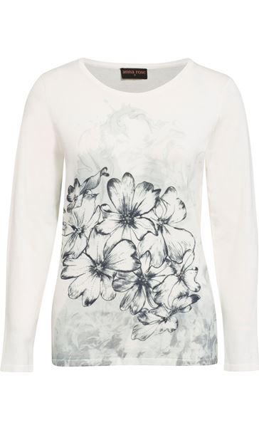 Anna Rose Floral Sketch Knit Top Ivory/Blue