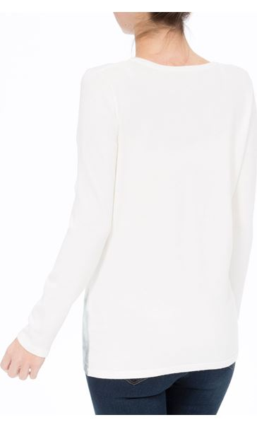 Anna Rose Floral Sketch Knit Top Ivory/Blue - Gallery Image 3