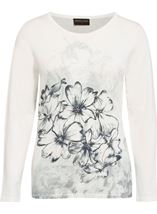 Anna Rose Floral Sketch Knit Top Ivory/Blue - Gallery Image 1