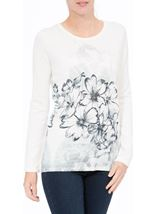 Anna Rose Floral Sketch Knit Top Ivory/Blue - Gallery Image 2
