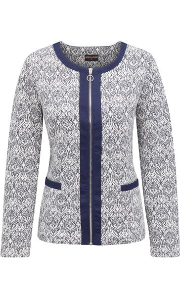Anna Rose Printed Zip Jacket Navy/Ivory - Gallery Image 1