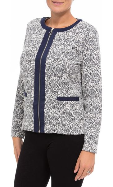 Anna Rose Printed Zip Jacket Navy/Ivory - Gallery Image 2