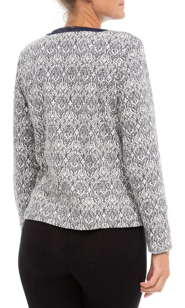 Anna Rose Printed Zip Jacket Navy/Ivory - Gallery Image 3