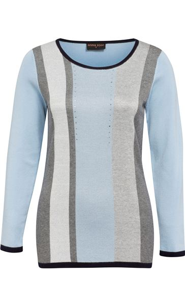 Anna Rose Sparkle Stripe Knit Top Soft Blue