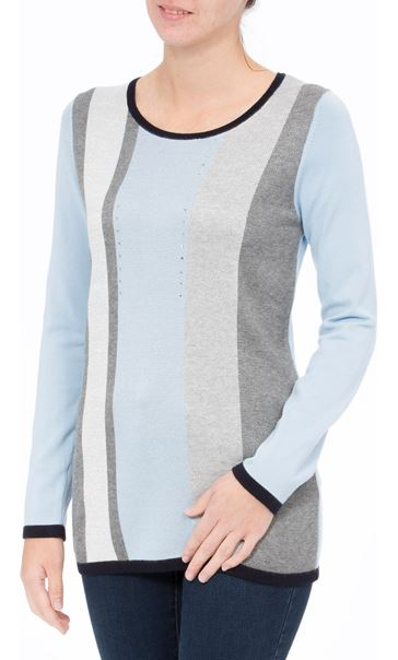 Anna Rose Sparkle Stripe Knit Top Soft Blue - Gallery Image 2