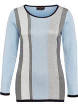 Anna Rose Sparkle Stripe Knit Top Soft Blue - Gallery Image 1