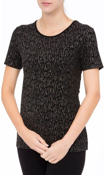 Anna Rose Short Sleeve Glitter Top Black/Rainbow - Gallery Image 2