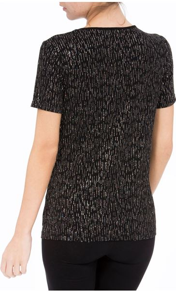 Anna Rose Short Sleeve Glitter Top Black/Rainbow - Gallery Image 3
