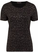 Anna Rose Short Sleeve Glitter Top Black/Rainbow - Gallery Image 1