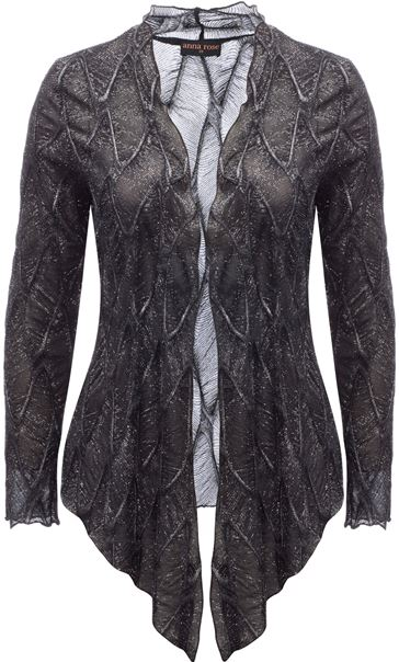 Anna Rose Long Sleeve Sparkle Cover Up Black/Silver - Gallery Image 1