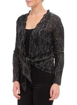 Anna Rose Long Sleeve Sparkle Cover Up Black/Silver - Gallery Image 2