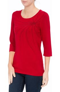 Anna Rose Embellished Knit Top - Red