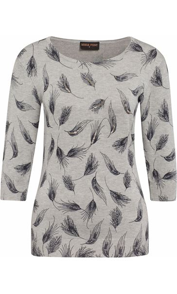 Anna Rose Feather Print Knit Top Grey