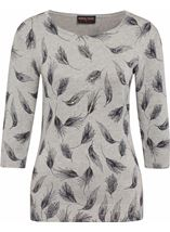 Anna Rose Feather Print Knit Top Grey - Gallery Image 1