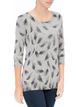 Anna Rose Feather Print Knit Top Grey - Gallery Image 2