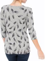 Anna Rose Feather Print Knit Top Grey - Gallery Image 3