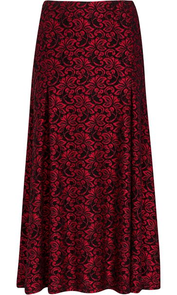 Anna Rose Sparkle Lace Midi Skirt Red/Black