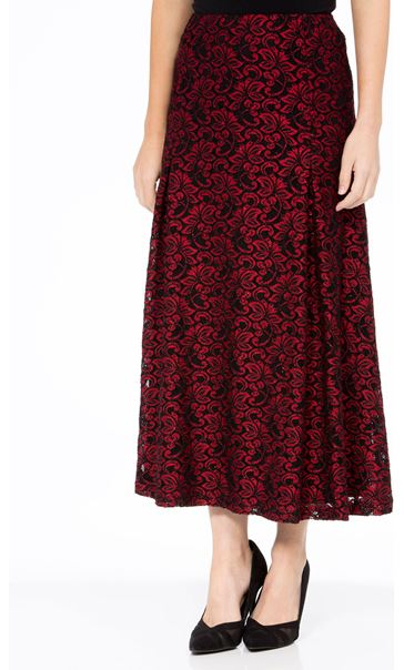 Anna Rose Sparkle Lace Midi Skirt Red/Black - Gallery Image 2