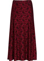 Anna Rose Sparkle Lace Midi Skirt Red/Black - Gallery Image 1