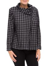 Textured Roll Collar Jacket Black - Gallery Image 2