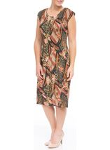 Printed Pleat Midi Dress Green - Gallery Image 2
