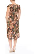 Printed Pleat Midi Dress Green - Gallery Image 3