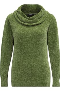 Cowl Neck Long Sleeve Chenille Top - Green