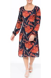 Long Sleeve Floral Pleat Midi Dress