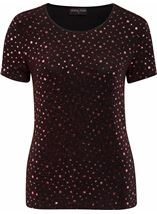 Anna Rose Short Sleeve Sparkle Top Red/Black - Gallery Image 1