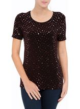 Anna Rose Short Sleeve Sparkle Top Red/Black - Gallery Image 2