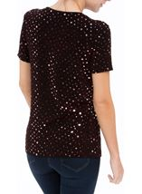 Anna Rose Short Sleeve Sparkle Top Red/Black - Gallery Image 3