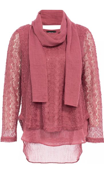 Layered Knit Scarf Top Merlot