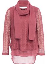 Layered Knit Scarf Top Merlot - Gallery Image 1