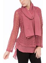 Layered Knit Scarf Top Merlot - Gallery Image 2