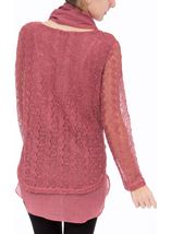 Layered Knit Scarf Top Merlot - Gallery Image 3