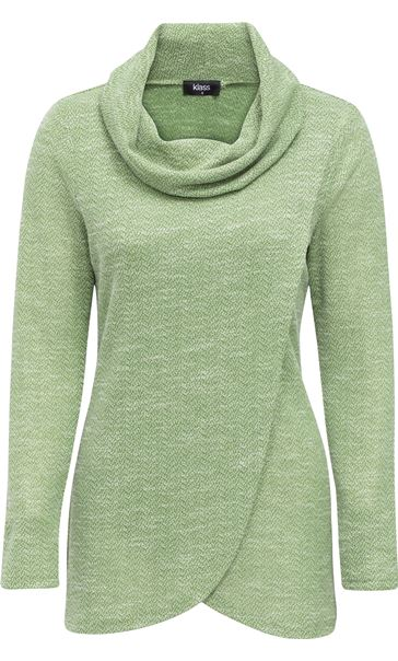 Cowl Neck Wrap Over Top Herb Green