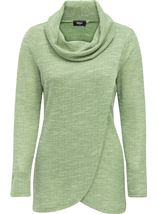 Cowl Neck Wrap Over Top Herb Green - Gallery Image 1