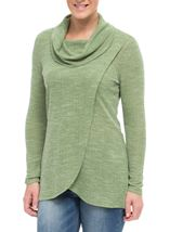 Cowl Neck Wrap Over Top Herb Green - Gallery Image 2