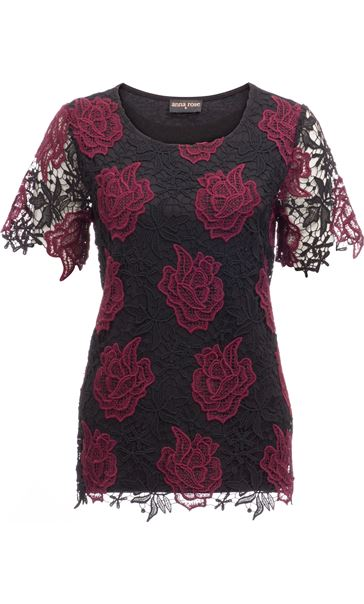 Anna Rose Floral Crochet Top Red/Black