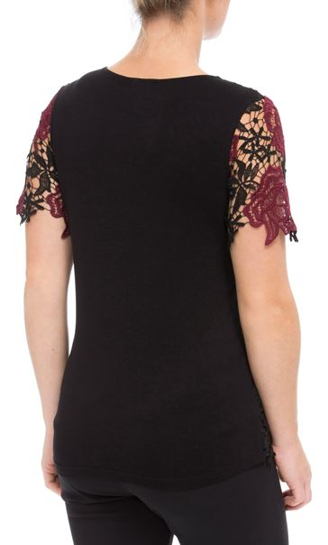 Anna Rose Floral Crochet Top Red/Black - Gallery Image 3