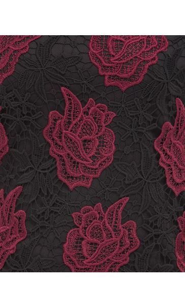 Anna Rose Floral Crochet Top Red/Black - Gallery Image 4