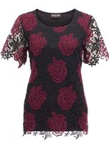 Anna Rose Floral Crochet Top Red/Black - Gallery Image 1