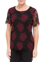 Anna Rose Floral Crochet Top Red/Black - Gallery Image 2