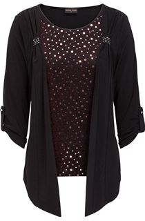 Anna Rose Moc Shimmer Top And Cardigan