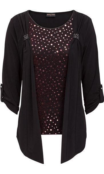 Anna Rose Moc Shimmer Top And Cardigan Red/Black
