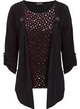 Anna Rose Moc Shimmer Top And Cardigan Red/Black - Gallery Image 1